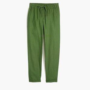 Jcrew cotton linen green drawstring pants